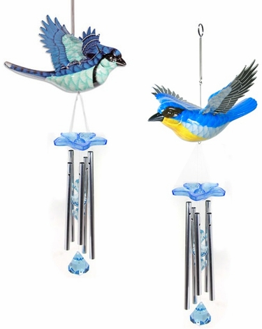 Bluebirds Hanging Wind Chimes (Set of 2) - Click to enlarge