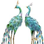 "34"" Metallic Blue Peacock Birds (Set of 2)"