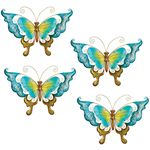 Blue Glass Butterfly Wall Decor (Set of 4)