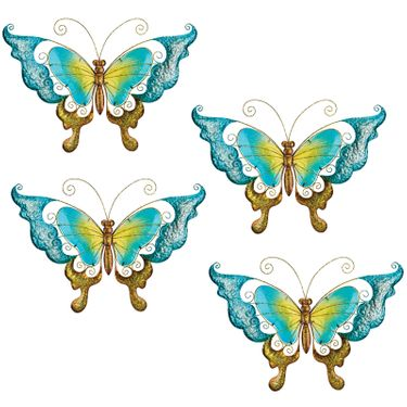 Blue Glass Butterfly Wall Decor (Set of 4) - Click to enlarge