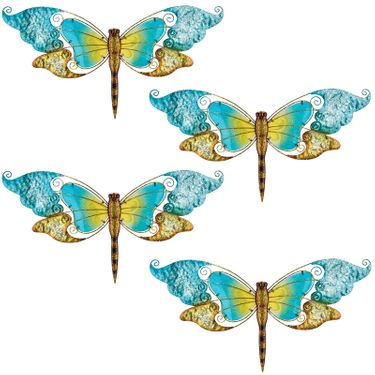 Blue Glass Dragonfly Wall Decor (Set of 4) - Click to enlarge