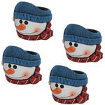 Blue Hat Snowman Flower Pots (Set of 4)