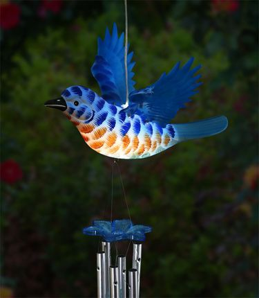 Solar Bluebird LED Light Wind Chime - Click to enlarge