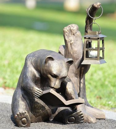 Book Lover Bear Garden Lantern - Click to enlarge