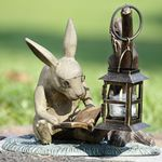 Booklover Rabbit Candle Lantern Statue
