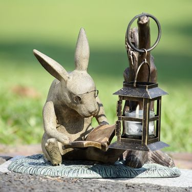 Booklover Rabbit Candle Lantern Statue - Click to enlarge