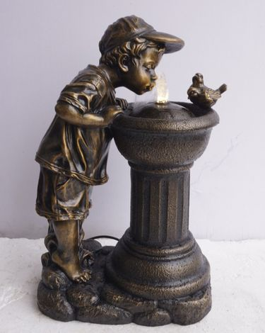 Boy & Bird Water Fountain w/LED Lights - Click to enlarge