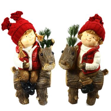 Boy & Girl on Deer Statues (Set of 2) - Click to enlarge