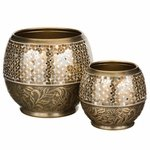 Brass Jewel Planters Set