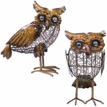 Bronze Filigree Owl Statues (Set of 2) - Click to enlarge