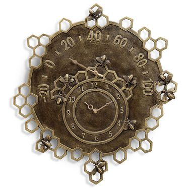 Busy Bees Garden Clock & Thermometer - Click to enlarge