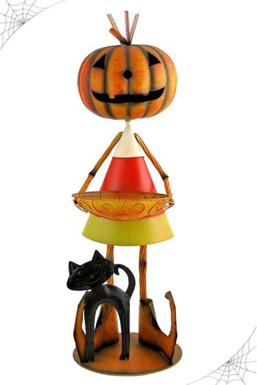 Candy Corn Jack-O-Lantern Metal Statue - Click to enlarge