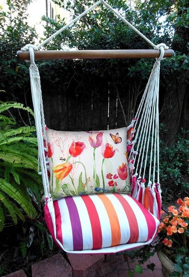 Cristina Stripe Aviary Butterfly Hammock Chair Swing Set - Click to enlarge