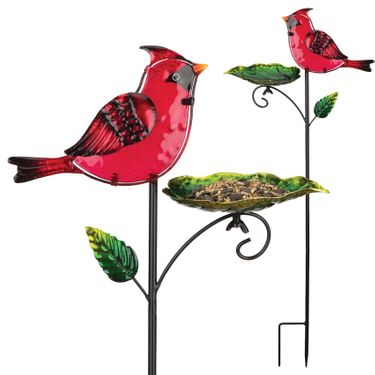 Cardinal Bird Feeder Stakes (Set of 2) - Click to enlarge