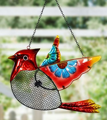 Cardinal Mesh Wild Bird Seed Feeder - Click to enlarge