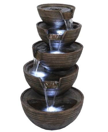 Cascading Bowls Fountain w/LED Lights - Click to enlarge
