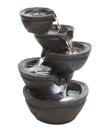 Cascading Bowls Tabletop Fountain w/LED Lights - Click to enlarge