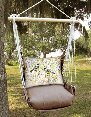 Chocolate Chickadee Birds Hammock Chair Swing Set - Click to enlarge