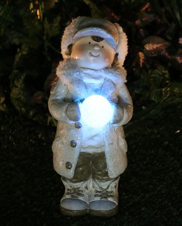 Christmas Boy w/LED Snowball LED Light - Click to enlarge