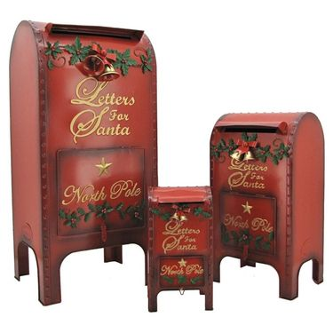 Vintage Christmas Mailboxes (Set of 3) - Click to enlarge