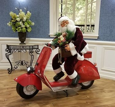 Christmas Red Moped Decoration w/Santa - Click to enlarge