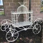 Cinderella Carriage Plant Stand - Antique White