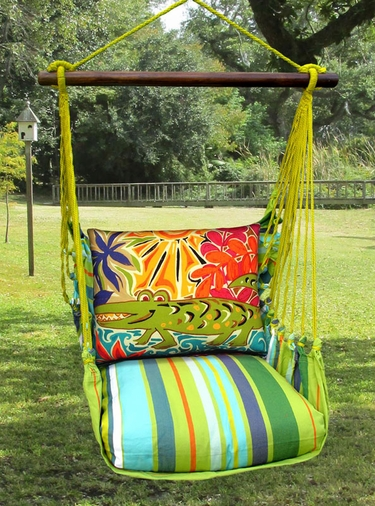 Citrus Stripe Alligator Hammock Chair Swing Set - Click to enlarge