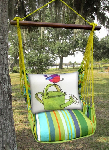 Citrus Stripe Bird w/Watering Can Hammock Chair Swing Set - Click to enlarge