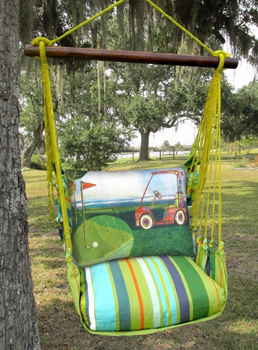 Citrus Stripe Golf Cart Hammock Chair Swing Set - Click to enlarge
