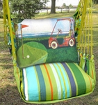 Citrus Stripe Golf Cart Hammock Chair Swing Set