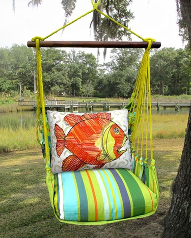 Citrus Stripe Modern Fish Hammock Chair Swing Set - Click to enlarge