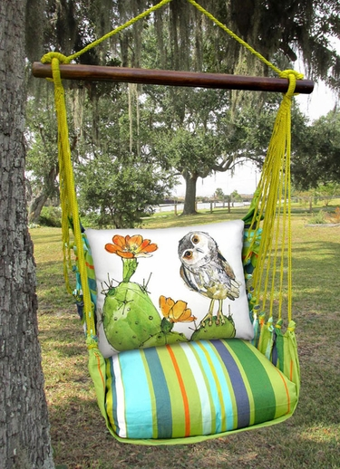 Citrus Stripe Owl on Cactus Hammock Chair Swing Set - Click to enlarge