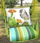 Citrus Stripe Owl on Cactus Hammock Chair Swing Set