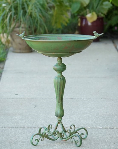 Classic Pedestal Bird Bath - Green - Click to enlarge