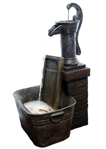Classic Pump & Washboard Outdoor Fountain - Click to enlarge