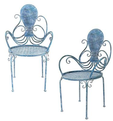 Coastal Octopus Metal Chairs (Set of 2) - Click to enlarge
