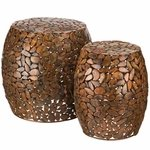 Copper Pebbles Garden Stools & Planters (Set of 2)