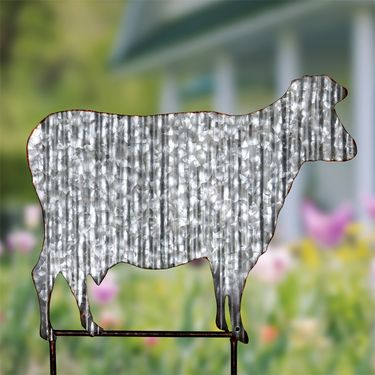 Corrugated Metal Cow Garden Stake - Click to enlarge