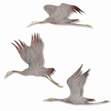 Flying Cranes Wall Art Decor (Set of 3) - Click to enlarge