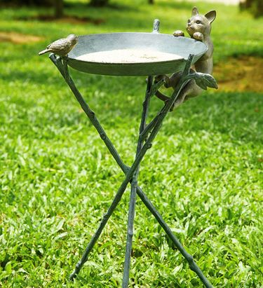 Curious Cat & Bird Birdbath - Click to enlarge