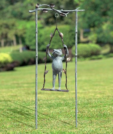Daredevil Frog on Swing Garden Stake - Click to enlarge