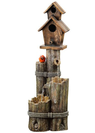 Decorative Birdhouse Cardinal Fountain - Click to enlarge