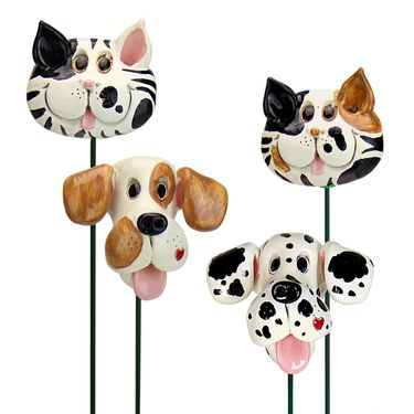 Playful Dog & Cat Plant Stakes (Set of 4) - Click to enlarge