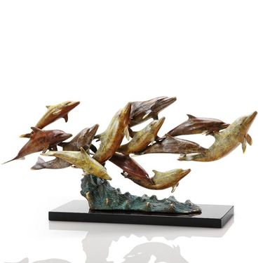 Dozen Swimming Dolphins Sculpture - Click to enlarge