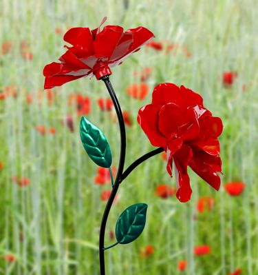 Dual Spinner Rose Garden Stake - Red - Click to enlarge
