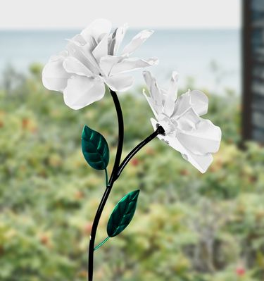 Dual Spinner Rose Garden Stake - White - Click to enlarge