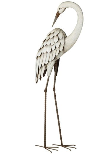 Egret Bird Garden Decor - Preening - Click to enlarge