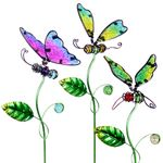 Embossed Glass Insect Plant Stakes (Set of 3)