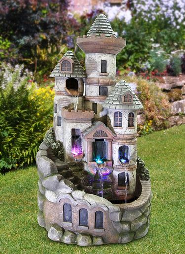 Fairy Garden Tower Fountain w/LED Lights - Click to enlarge