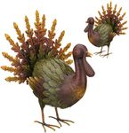 Fall Foliage Metal Turkeys (Set of 2)